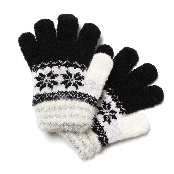 雪柄のびのび手袋(女の子)