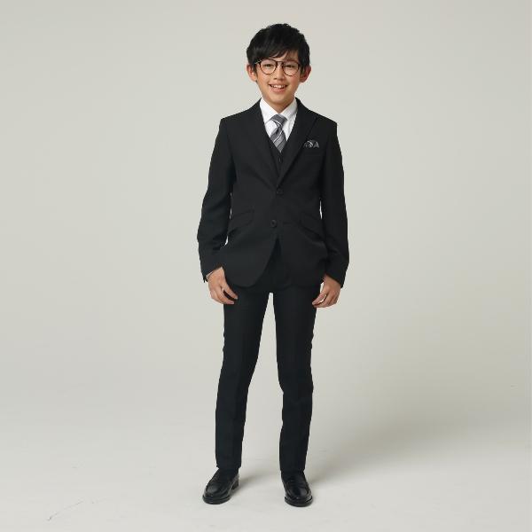 【WANDER FACTORY】ヘリンボンベスト付キスーツ(男児)