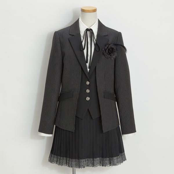 フェイクレイヤード ジャケットブラックスーツ(女の子)