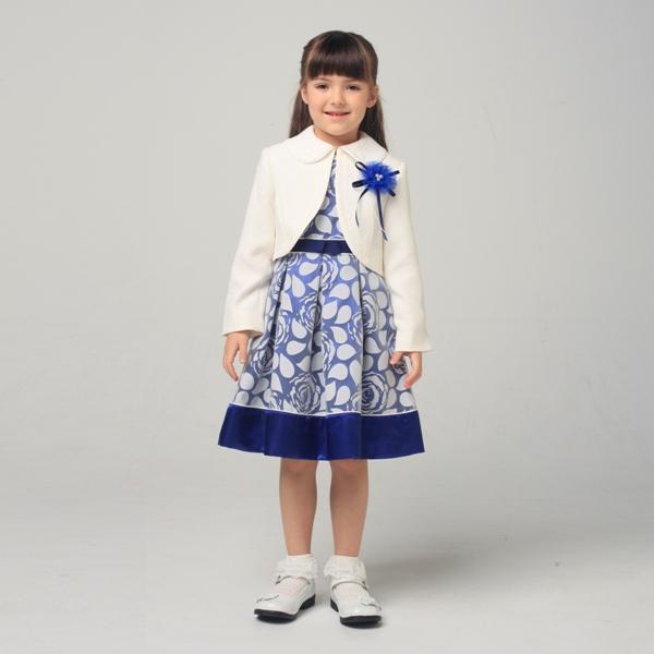 白ボレロバラ柄オパールワンピース(女の子)