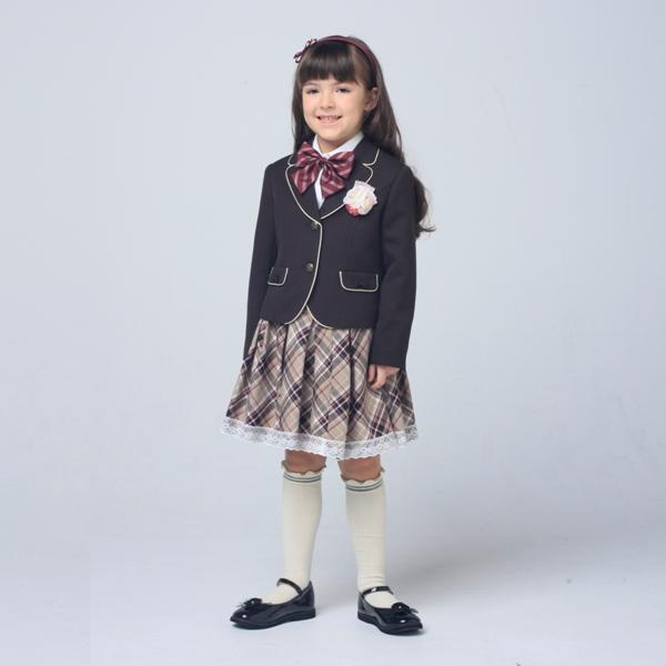 パイピングブラウンジャケットスーツゆったりサイズ(女の子)