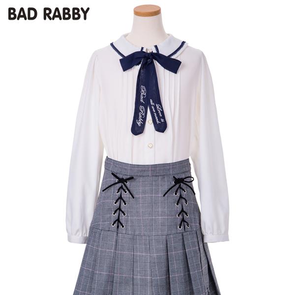 【BADRABBY】パウダーサテンリボン付き衿ピコレースブラウス(女児)