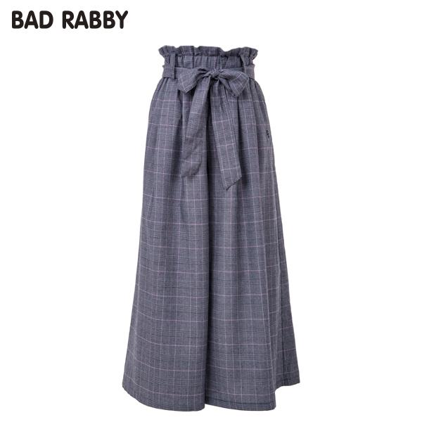 【BADRABBY】グレンチェックハイウェストワイドパンツ(女児)