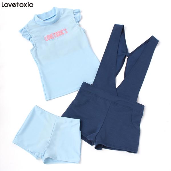 【lovetoxic】タンキニサロペット付き3点セット水着(女の子)