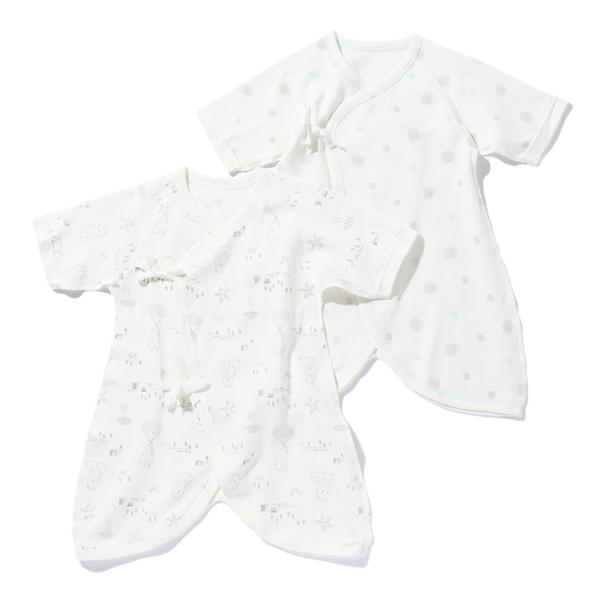 【トップバリュ】オーガニック新生児接結天竺コンビ肌着2枚組(男の子)