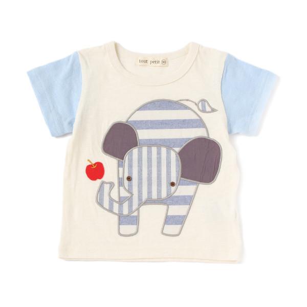 【tout petit】ぞうアップリケTシャツ(男の子)