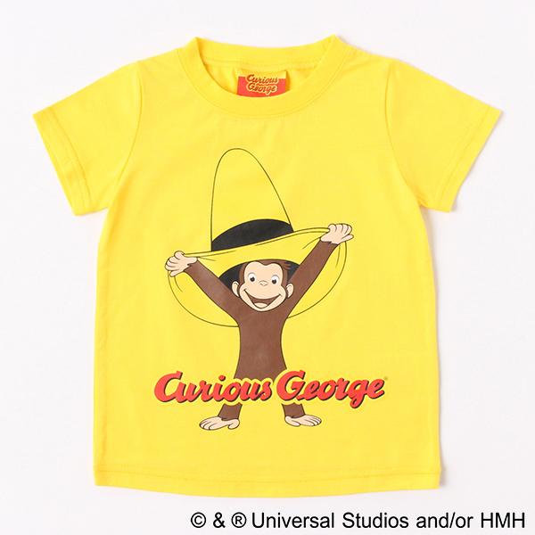 【おさるのジョージ】黄色い帽子柄天竺Tシャツ(男の子)