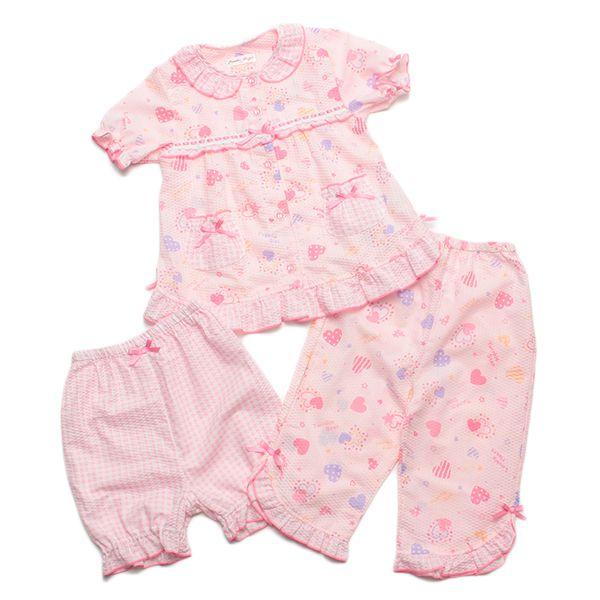 Powder Sugar パウダーシュガー 前開きハート柄リップルフェミニン2パンツ ピンク 女の子半袖 パジャマ GA92656AG