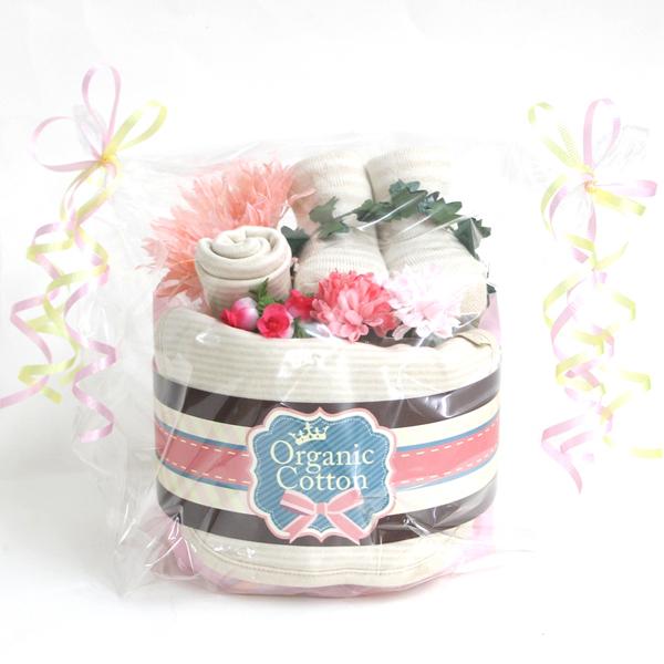 オーガニックおむつケーキ1段 ピンク