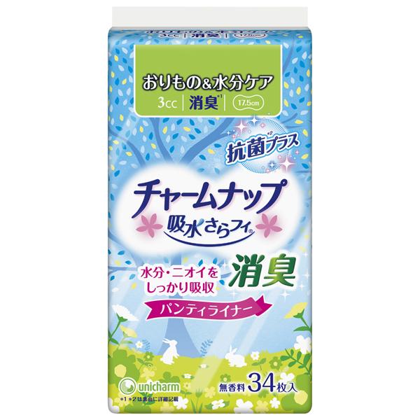 【チャームナップ】チャームナップ 吸水さらフィ 3cc 無香料 消臭タイプ パンティライナー 17.5cm (軽い尿モレの方) 34枚