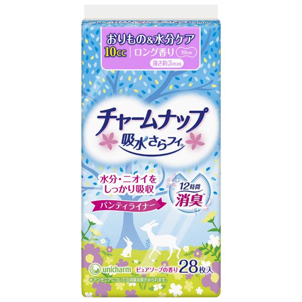 【チャームナップ】チャームナップ 吸水さらフィ 10cc ピュアソープの香り パンティライナー ロング 19cm (軽い尿モレの方) 28枚
