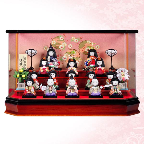 【WEB早得】【寿慶】白梅木目込十五人アクリル六角ケース飾り