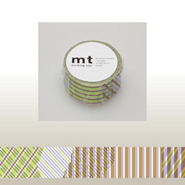 マスキングテープ mt 1P ストライプチェック・グリーン