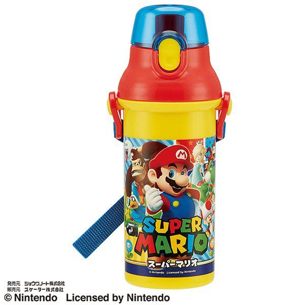 【早得】【予約】【新入学準備用品】【スーパーマリオ】直飲プラワンタッチボトル スパーマリオ