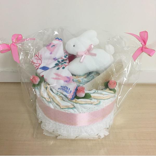 【ダイバーケーキ】おむつケーキ マスコットバニーピンク