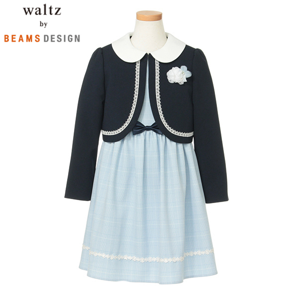 a84cd3be747ed Waltz by BEAMS DESIGN Waltzグレンチェックアンサンブル サックス 女の子 入学スーツ アンサンブル フォーマル 3901-