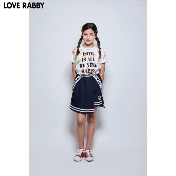 25fa4fbfc13d3 LOVERABBY ラブラビ スイーツ総柄プリントTシャツ シロ 女の子 半そで トップス 512543