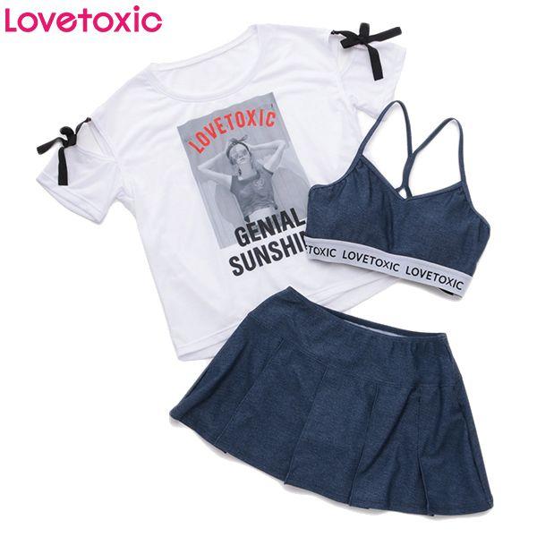 690469f285f0f Lovetoxic ラブトキシック 転写Tシャツ付きスカパン3点セット シロ 女児服飾 ガールズデザイン水着