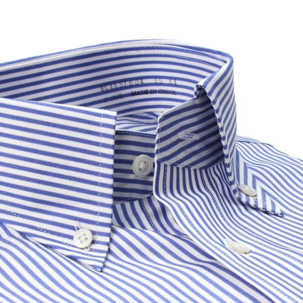 【ベラカミーチャ】ブルーストライプボタンダウンシャツ(メンズ)