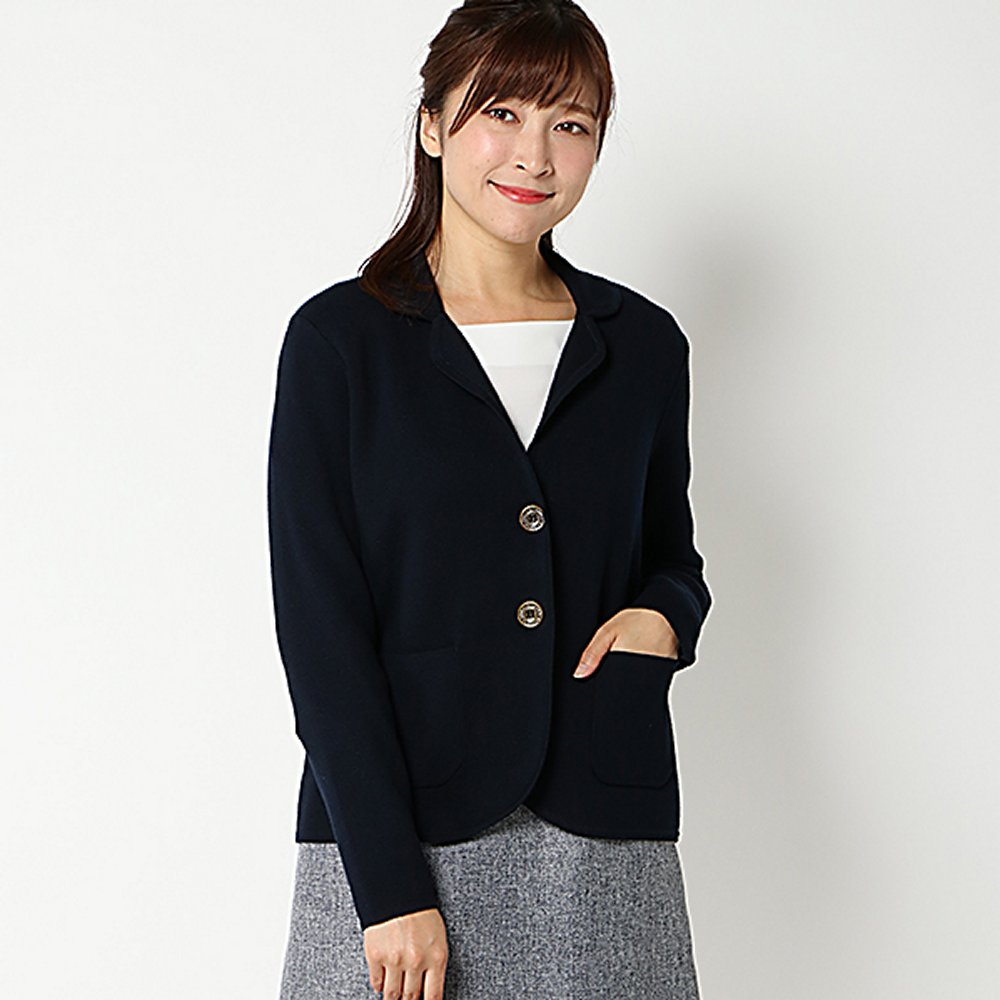 【PART2 BY JUNKO SHIMADA】洗えるミラノリブテーラージャケット(レディース) ネイビー