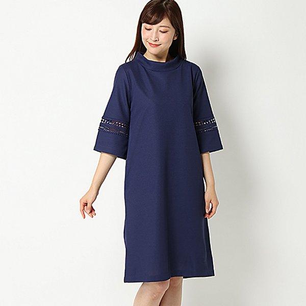 【PART2 BY JUNKO SHIMADA】袖切り替えレースワンピース(レディース) ブルー