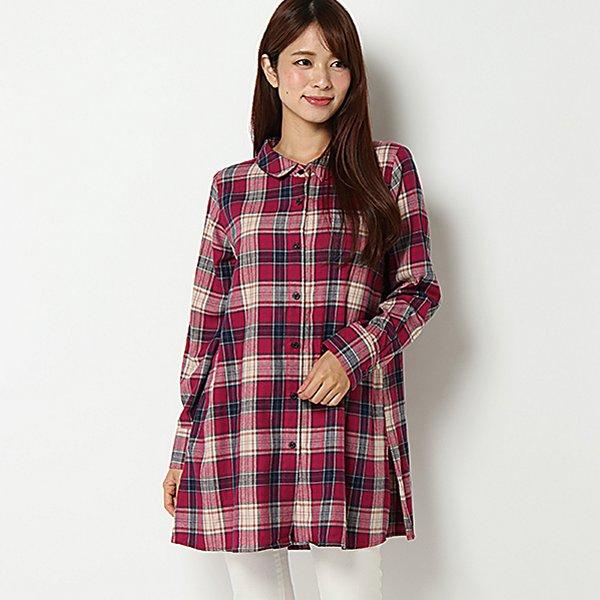 【PART2 BY JUNKO SHIMADA】ビックチェックロングシャツ(レディース) アカ