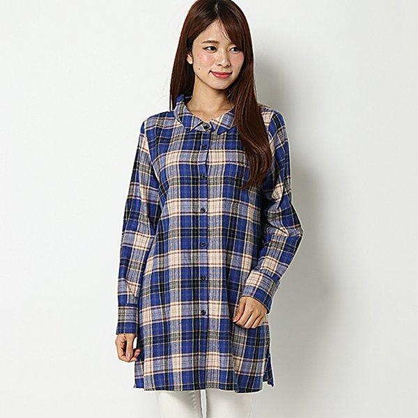 【PART2 BY JUNKO SHIMADA】ビックチェックロングシャツ(レディース) アオ