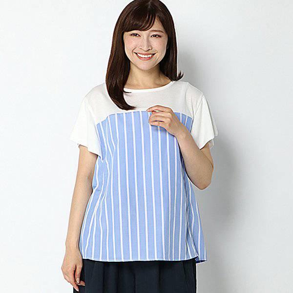 SALE 【ピュアラスト】ストライプ切り替えカットソー(レディース) ブルーストライプ