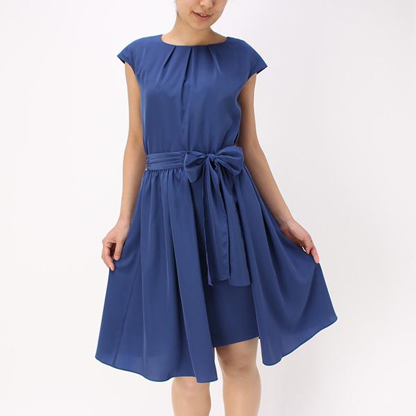オーバースカート付きワンピース(レディース) ブルー