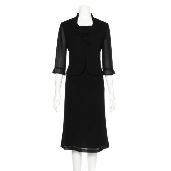 SALE フリル衿ワンピース(レディース) 黒