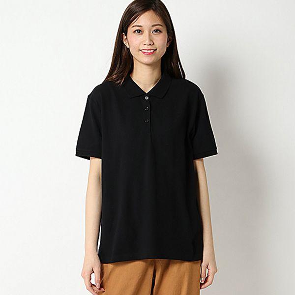 【大きいサイズノアンヌ】無地ポロシャツ(レディース) ブラック
