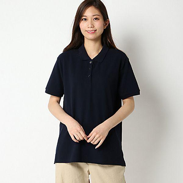 【大きいサイズノアンヌ】無地ポロシャツ(レディース) ネイビー