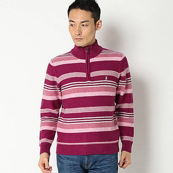 【マクベス】ラムボーダージップセーター(メンズ) ムラサキ
