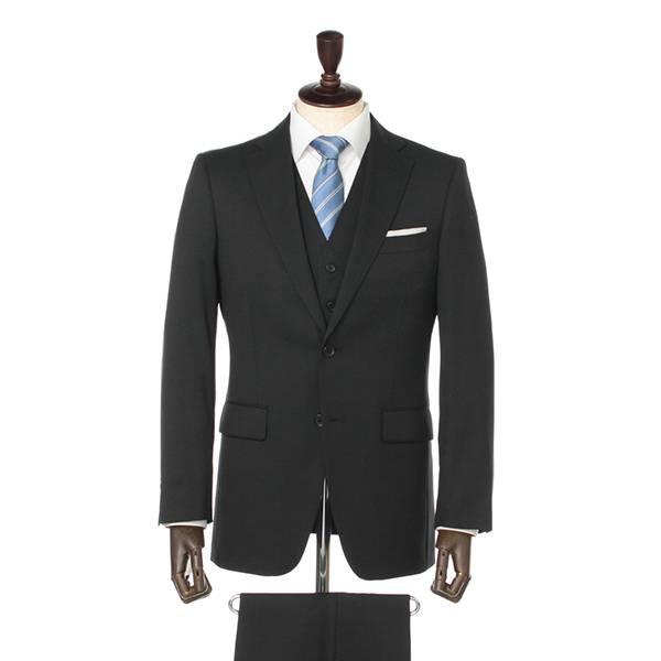 SALE ストレッチスリーピースレギュラースーツ(メンズ) クロ