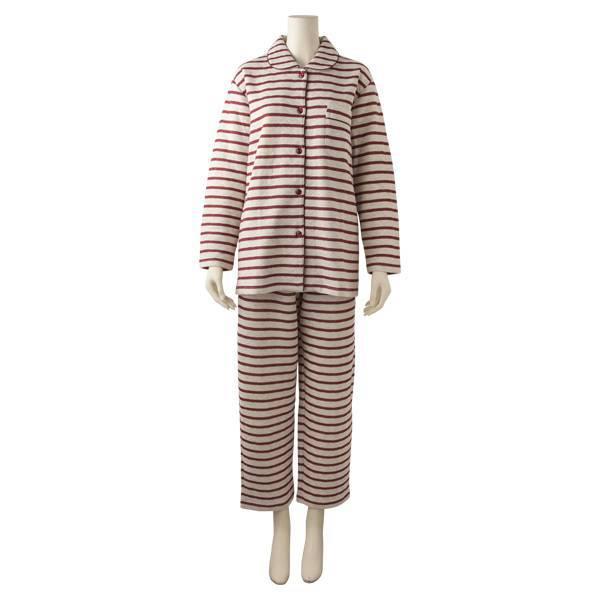 キルトボーダーシャツパジャマ(レディース) アカ