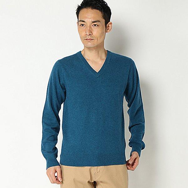 カシミヤ100%Vネックセーター(メンズ) アオ
