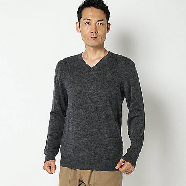 メリノVネックセーター(メンズ) チャコ-ルグレ-
